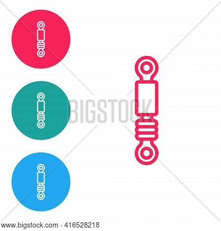Red Line Shock Absorber Icon Isolated On White Background. Set Icons In Circle Buttons. Vector