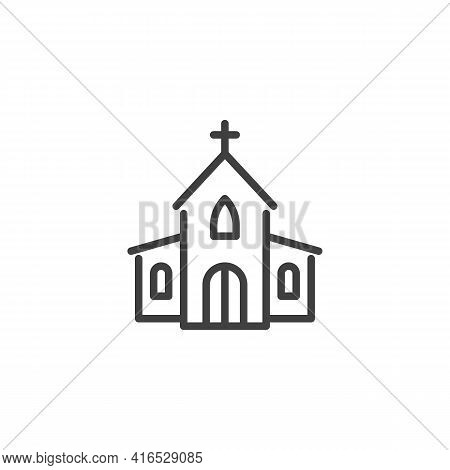 Church Line Icon. Linear Style Sign For Mobile Concept And Web Design. Church With Holy Cross Outlin
