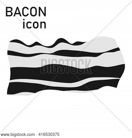 Bacon, Black And White Bacon Icon On A White Background. Vector, Cartoon Illustration. Vector.