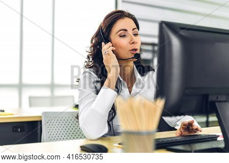 Beautiful Happy Call Center Smiling Businesswoman Operator Customer Support Consult Phone Services A
