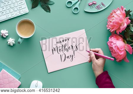 Mothers Day Greeting Card Design. Text Happy Mothers Day. Ink Peony Flowers On Faded Mint Green Back