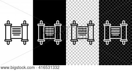 Set Line Decree, Paper, Parchment, Scroll Icon Icon Isolated On Black And White, Transparent Backgro