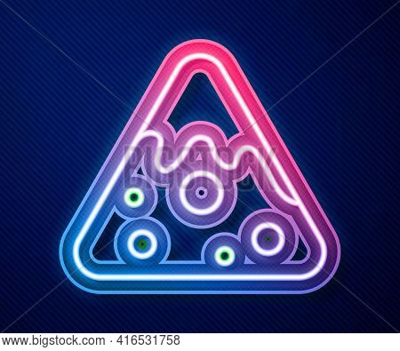 Glowing Neon Line Nachos Icon Isolated On Blue Background. Tortilla Chips Or Nachos Tortillas. Tradi