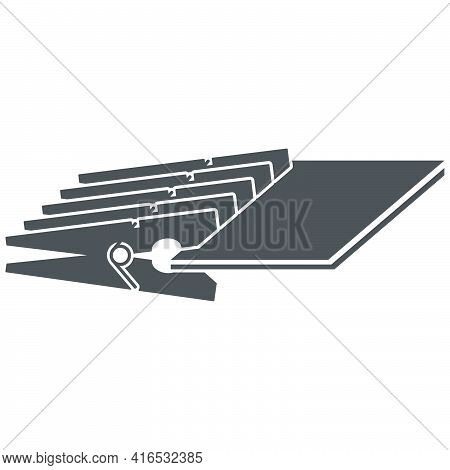 Wooden Clothespins Icon In A Flat Style.vector Illustration.