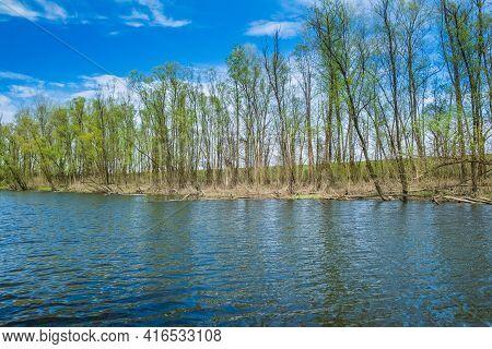 Beautiful Landscape In Coutryside, River Strug In Nature Park Lonjsko Polje, Croatia