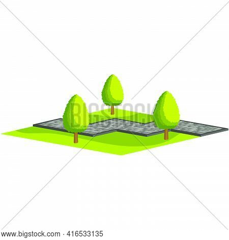Design Of A Park Zone.walking Path From Paving Slabs With Trees And Grass.vector Isometric And 3d Vi