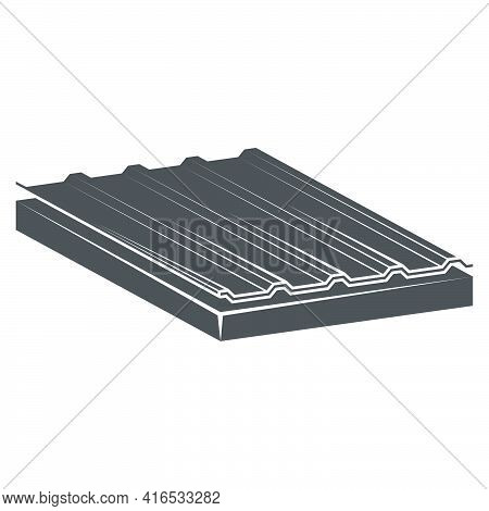 Sandwich Panel Two-layer. A Filler-mineral Wool Icon In Flat Style.vector Illustration.