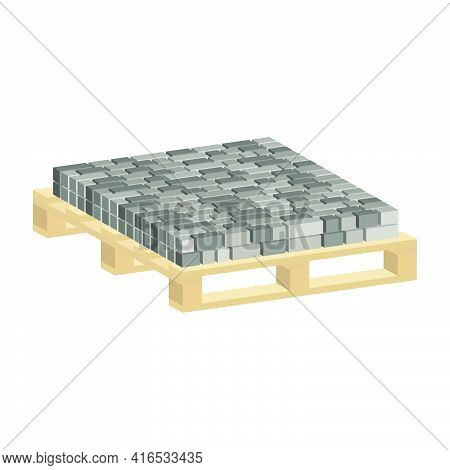 Paving Slabs On A Pallet.vector Isometric And 3d View.