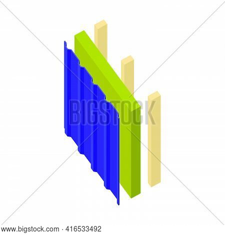 Sandwich Panel Two-layer On A Wooden Frame.profile Sheet Iron Withs Filler-mineral Wool.vector Isome
