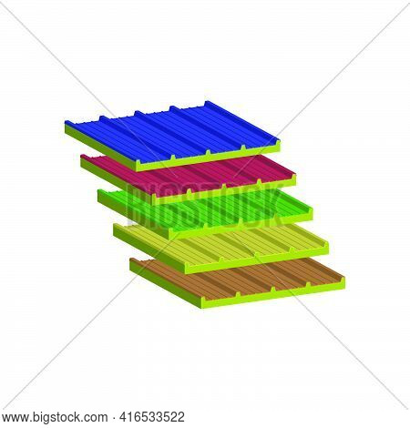 Set Of Roofing Sandwich Panels Two-layer. A Filler-mineral Wool.vector Isometric And 3d View.