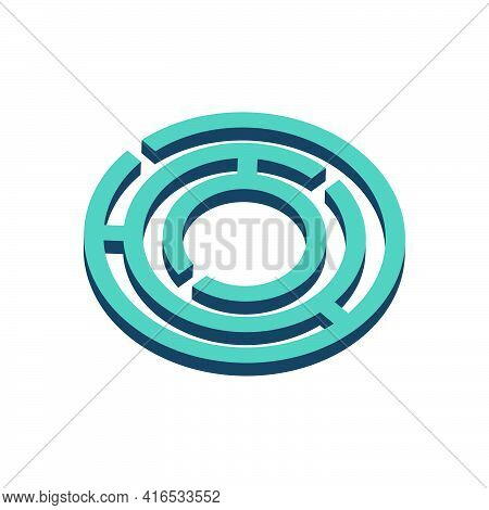 Labyrinth Icon On White Background.isometric And 3d View.