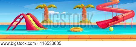 Aqua Park With Swimming Pool, Water Slides And Palms. Vector Cartoon Illustration Of Resort Aquapark