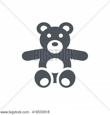 Teddy Bear Icon In Flat Style.vector Illustration.
