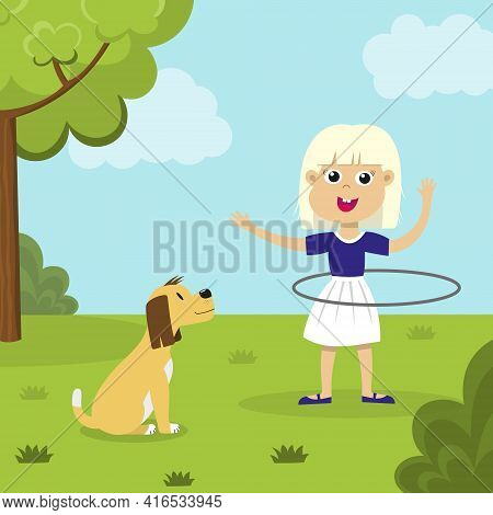 Cute Smiling Blond Girl Playing With Hula Hoop And A Dog Looking At Her In The Park. Happy Hula Hoop
