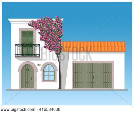 Typical White Mediterranean House With Garage And Bougainvillea Tree In Blossom. Isolated Vector Ill