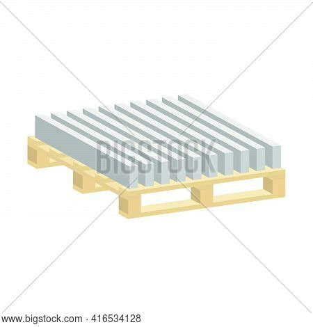 Sidewalk Curbs On A Pallet.3d Vector Illustration And Isometric View.