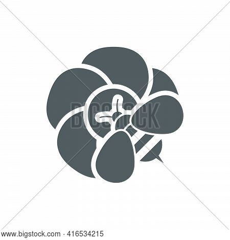 A Bee On A Flower Icon In Flat Style.vector Illustration.