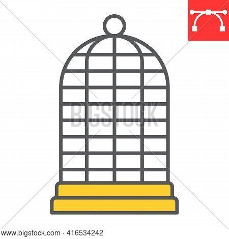 Birdcage Color Line Icon, Pet Shop And Freedom, Cage Vector Icon, Vector Graphics, Editable Stroke F
