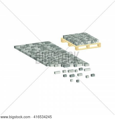 Layout Example Of Paving Slabs And Paving Slabs On A Pallet.vector Isometric And 3d View.