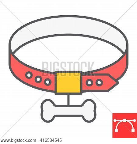 Dog Collar Color Line Icon, Pet Shop And Bone, Pet Collar Vector Icon, Vector Graphics, Editable Str