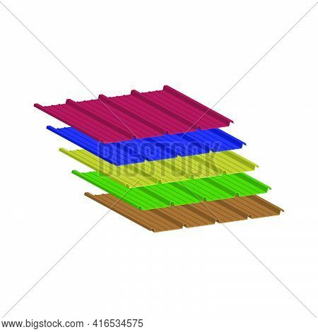 Set Of Roofing Tiles In The Assortment Of Five Popular Colors.3d Vector Illustration And Isometric V