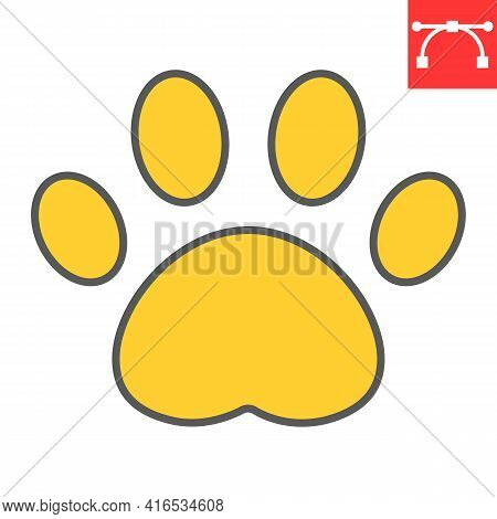 Paw Print Color Line Icon, Pet And Foot, Dog Paw Footprint Vector Icon, Vector Graphics, Editable St