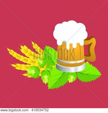 Wooden Mug Of Beer With Hops And Wheat.vector Illustration.