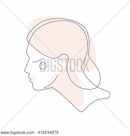 Abstract Minimal Woman Portrait Line Drawing. Young Woman. Hand Drawn Vector Illuctration For Wall D