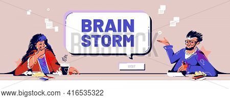 Brainstorm Banner. Concept Of Team Meeting In Company Office For Exchange Ideas And Minds, Find Busi