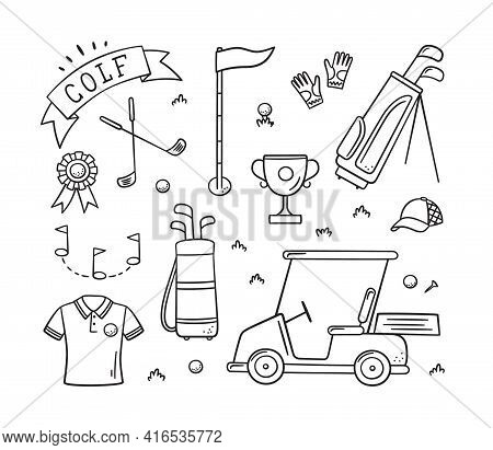 Golf Equipment - Club, Ball, Flag, Bag And Golf Cart In Doodle Style. Golf Wear. Hand Drawn Vector I