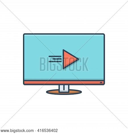 Color Illustration Icon For Tv  Television Screen Display  Electronic-device