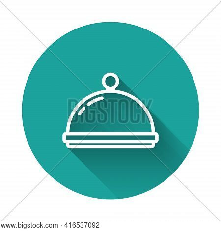 White Line Covered With A Tray Of Food Icon Isolated With Long Shadow Background. Tray And Lid Sign.