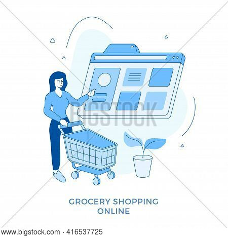 Linear Flat Grocery Shopping Online. Woman Standing With Supermarket Cart And Choosing Goods In Brow