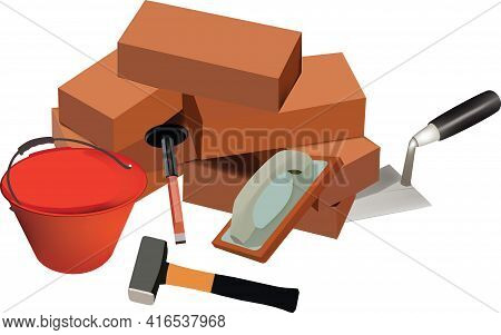 Terracotta Bricks For Construction Terracotta Bricks With Building And Construction Tools