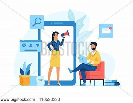 Social Media Management Concept Flat Vector Illustration. Female Cartoon Character Holding Megaphone