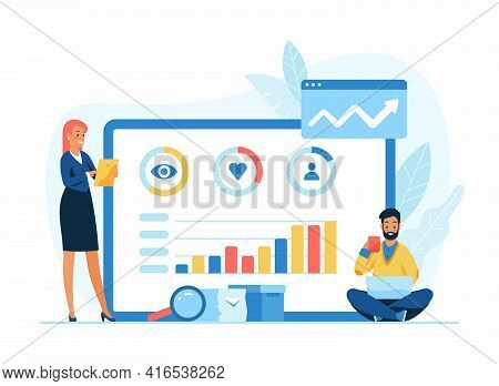 Social Media Advertising Flat Vector Illustration. Male And Female Cartoon Characters Managers Worki