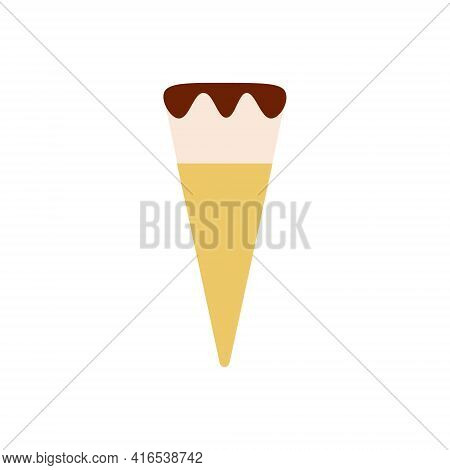 Flat Vector Illustration Of Waffle Cone Or Cup With Ball Of Vanilla With Chocolate Ice Cream Or Gela