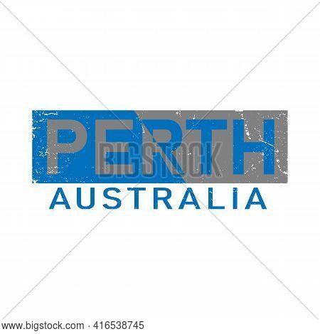 Perth Wa, Australia Logo. Adventure Landscape Design Vector City Illustration.