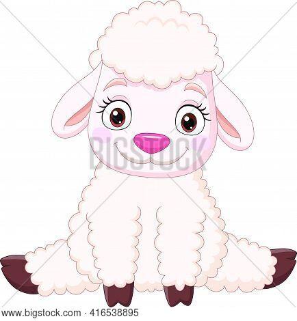 Vector Illustration Of Cartoon Funny Baby Sheep Sitting