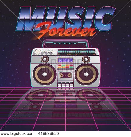 Music Forever Poster With Retro Tape Recorder On Glassy Floor On Starry Sky Background Flat Vector I