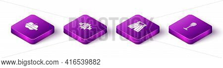 Set Isometric Apple And Measuring Tape, Punch Boxing Gloves, Boxing Short And Punching Bag Icon. Vec