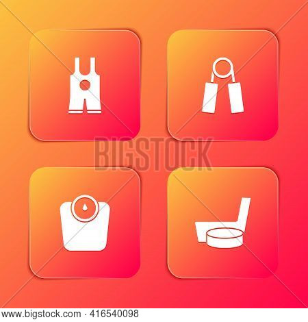 Set Wrestling Singlet, Sport Expander, Bathroom Scales And Ice Hockey Stick Puck Icon. Vector
