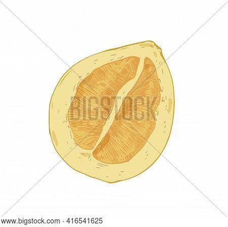 Half Of Pomelo Isolated On White Background. Juicy Pummelo Slice. Fleshy Pulp Of Asian Citrus. Reali