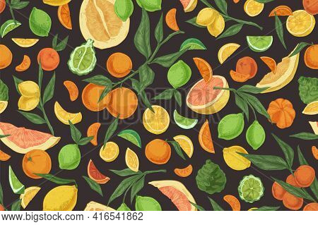 Seamless Repeatable Pattern With Mix Of Citrus Fruits On Black Background. Endless Texture With Oran