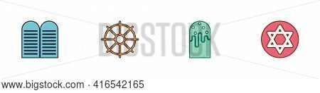 Set The Commandments, Dharma Wheel, Easter Cake And Star Of David Icon. Vector
