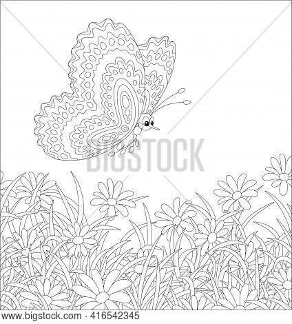 Ornate Butterfly Flying Over Beautiful Wildflowers On A Pretty Summer Field, Black And White Outline