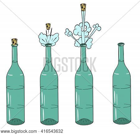 Cork Flies Out Of A Bottle Of Alcoholic Liquid Over White Background.