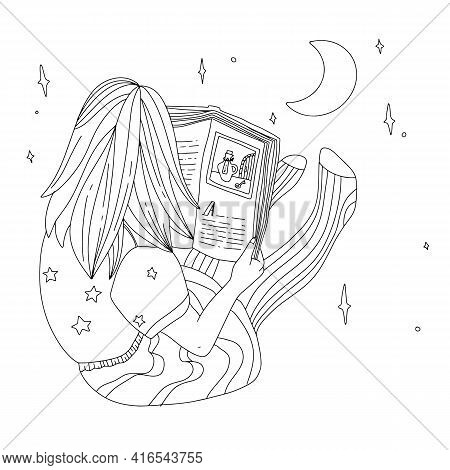 Child Is Reading Book At Night. Girl Seat On The Floor With Book. Flat, Outline, Concept. Dream And