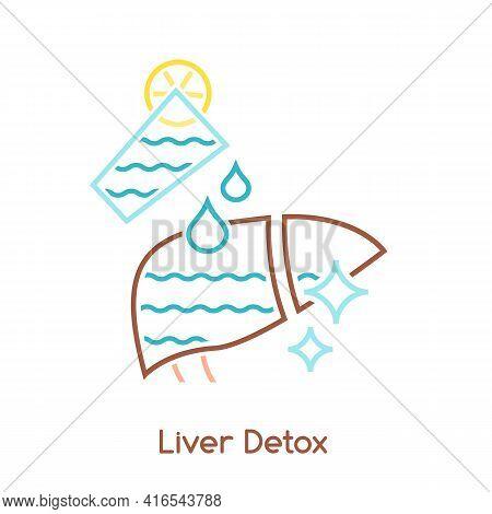 Liver Detox Icon. Linear Medical Pictogram. Detoxification Sign.