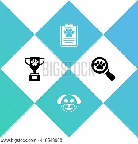 Set Pet Award, Dog, Clinical Record Pet And Veterinary Clinic Icon. Vector